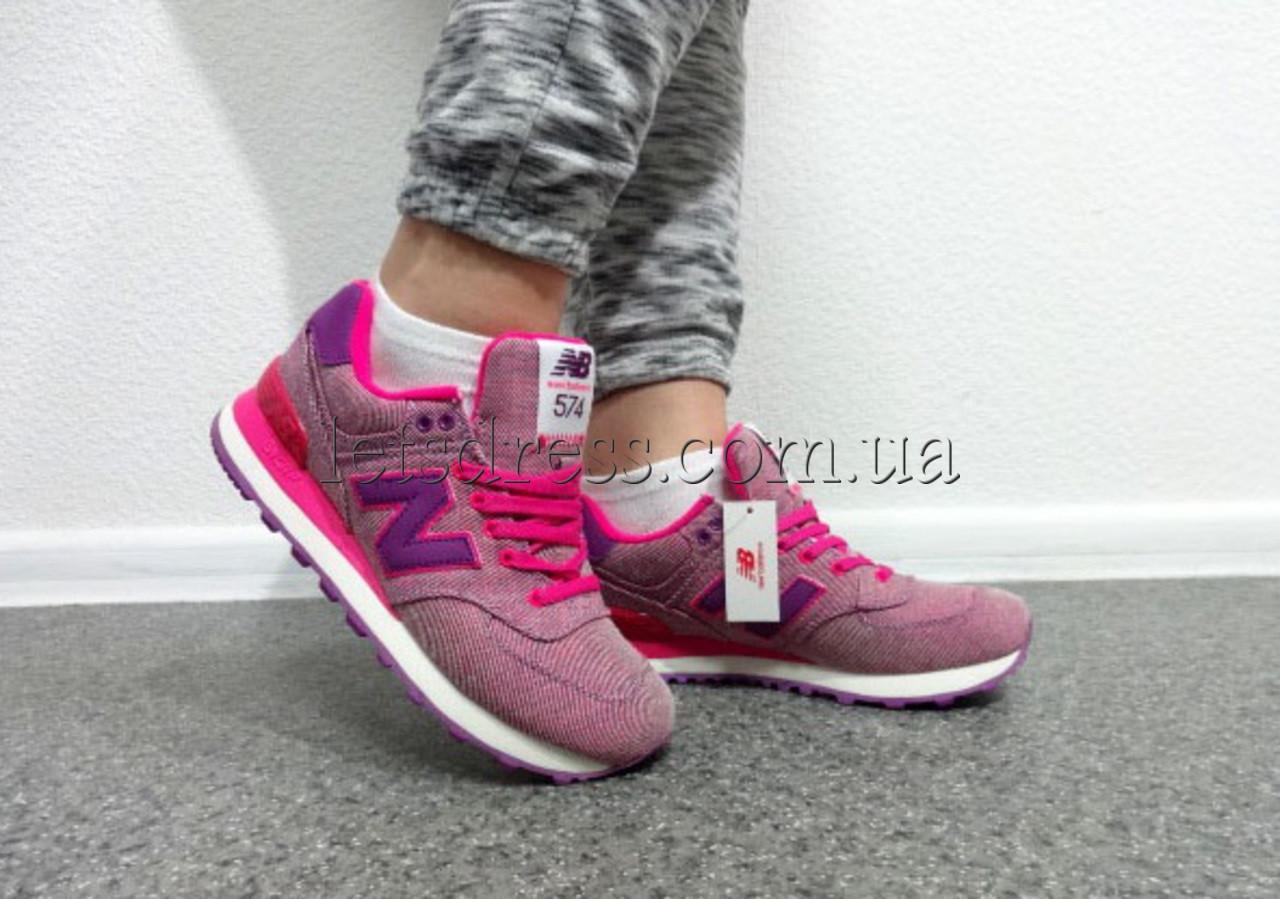 ... Женские New Balance WL574 GPK Pink glow кроссовки Нью Баланс 574  розовые, ... a8473e41a41