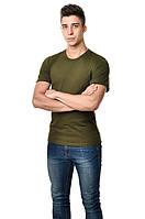 Однотонная футболка Хаки 130 г/м². 100% хлопок, опт.