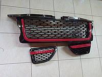 Решетка радиатора и жабры Range Rover Sport 2005-2009 (черная решетка, черная сетка, красные окантовки)