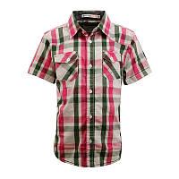 Рубашка в клеточку Glo-story с коротким рукавом; 128 размер