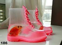 Резиновые женские сапоги розовые на шнурках 186