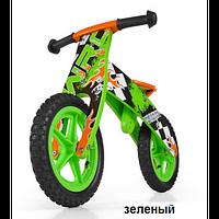 Велосипед беговой велокат Milly Mally беговел FLIP GREEN надувные колеса дерево Польша