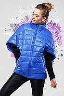 """Демисезонная куртка-жилетка цвета электрик, фасона """"летучая мышь"""""""