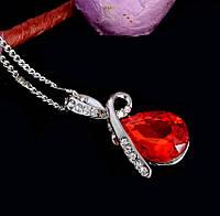 """Модная подвеска украшение на цепочке """"Капелька росы"""" с пурпурно красным кристаллом, серебристый цвет"""