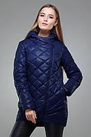 Утепленная темно синяя куртка-демисезонка, с удлиненной спинкой