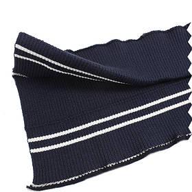 Резинка манжетная довяз, синяя с белой полоской