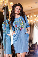 Женское короткое голубое трикотажное платье с цветочным принтом . Арт-2174/57