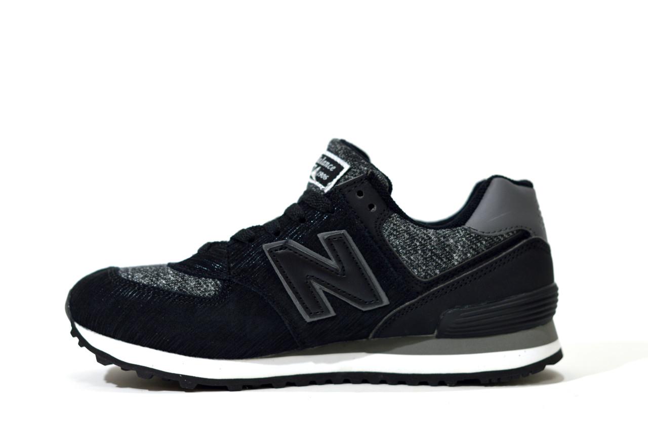 Кроссовки New Balance WL 574 Sweatshirt женские Black черные серые, Нью Баланс black/grey