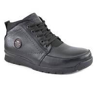 Кожаные зимние мужские ботинки (чёрные)