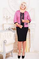 Батальное женское платье Марго  фрез+черный Lenida 50-60 размеры