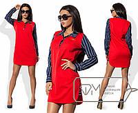 Платье-рубашка мини прямое с эффектом двуслойности из вязки-косы и полосатого стрейч-коттона с боковыми разрезами