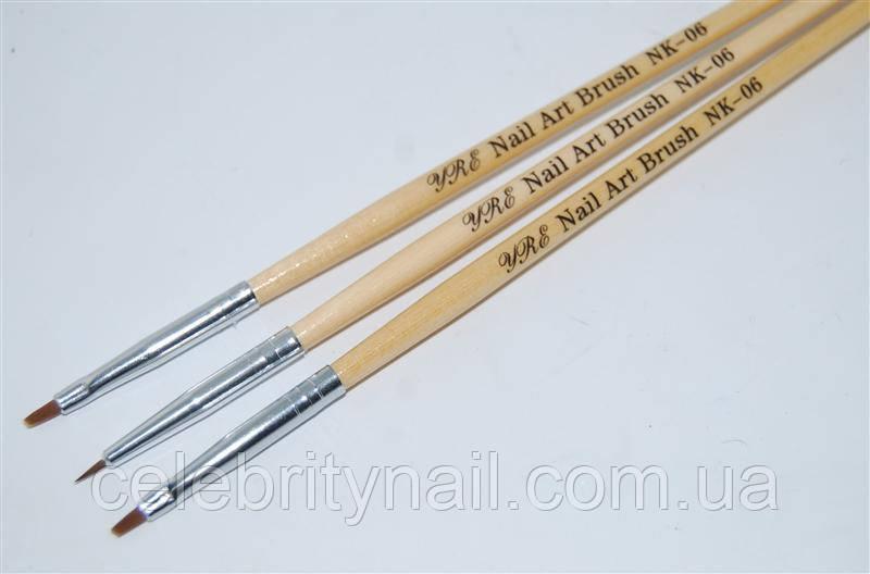 Набор кистей для геля ( деревянная  ручка) 3 шт., NK-06