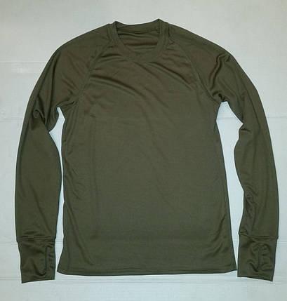 Термофутболка мужская потоотводящая с длинным рукавом из ткани кулмакс (олива), фото 2