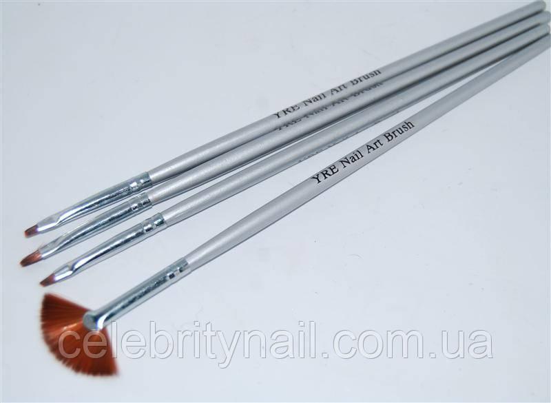 Набор кистей для рисования (серебряная ручка) 4 шт., NK-07