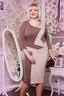 Шоколадное трикотажное платье большого размера Морган Lenida 50-58 размеры