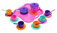 Ромашка, набор посуды 26 предметов, (розовый поднос). Тигрес