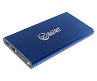 Повербанк 12000 mAh, Extradigital YN-012, Dark Blue, 1xUSB 5V/2.1A, 1xUSB 5V/1A, LED индикатор, кабель USB  microUSB (PBU3422), для iPhone, Samsung,