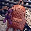 Рюкзак женский кожзам Стеганый Коричневый, фото 6