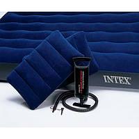 Двуспальный надувной матрас Intex велюр 68765 с насосом и 2 подушками 152*203*22 см. Цвет синий
