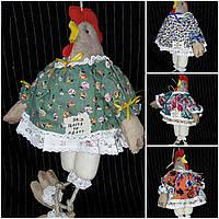 """Кофейная игрушка , украшение для корзины """"Курица-модняшка в платье прованс"""",250/210,38 см (ручная работа)"""