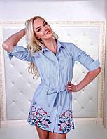Женское модная  рубашка-халат  на поясе