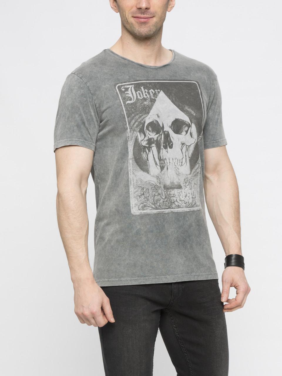 Мужская футболка LC Waikiki серого цвета с картинкой на груди