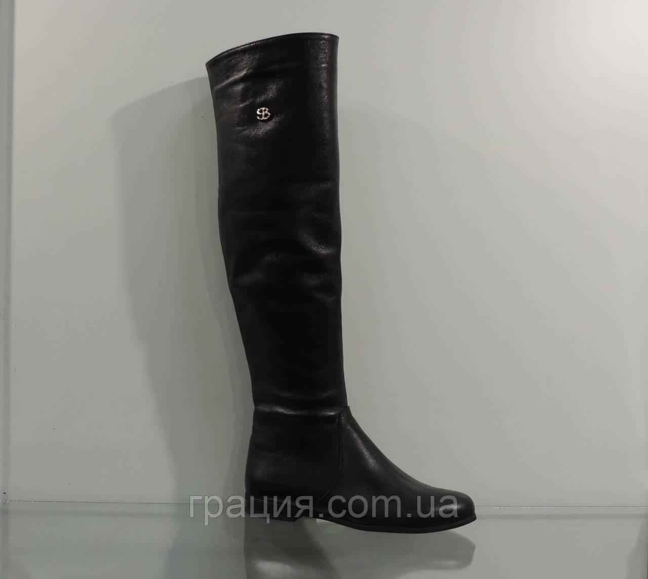 Сапожки женские высокие кожаные без каблука