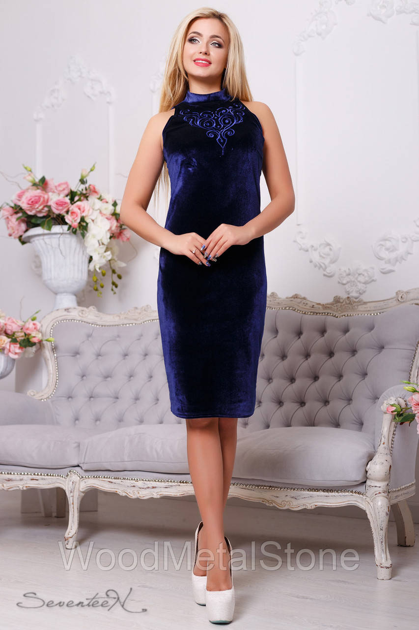 76931be7557 Купить сейчас - Стильное велюровое платье женское в (44-50 ...