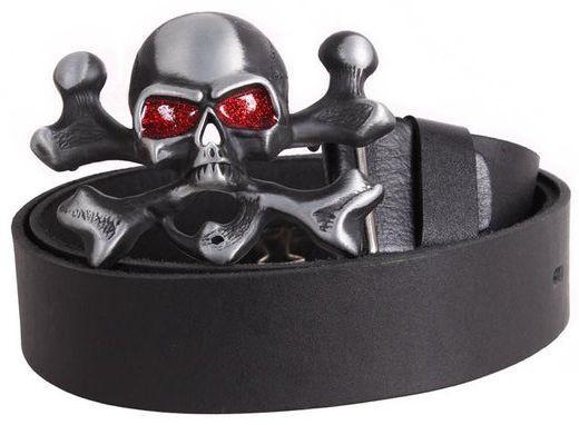 Кожаный ремень мужской с пряжкой в виде черепа Topgal 49142 ДхШ: 130х4 см, черный