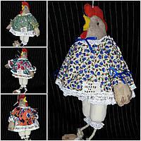 """Кофейная игрушка , украшение для корзины """"Курица-модняшка в платье прованс"""",250/210,38 см (за 1 шт+40 грн)"""