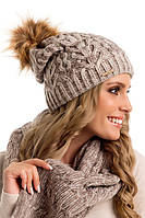 Красивая вязаная женская шапка с меховым помпоном Denis Pawonex Польша.