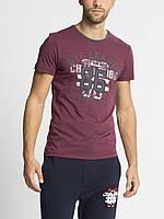 Мужская футболка LC Waikiki гранатового цвета с надписью NYC League 86