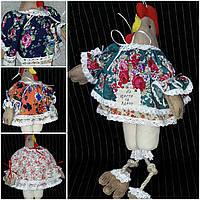 """Кофейная игрушка , украшение для корзины """"Курица-модняшка в платье прованс"""",250/210,38 см (за 1 шт+40грн)"""