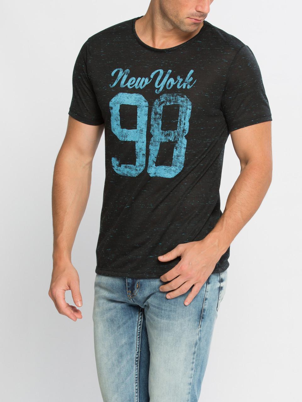 Мужская футболка LC Waikiki черного цвета с надписью New York 98