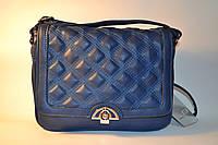 Красивая женская синяя сумка из кожзама Chanel Loace L-634