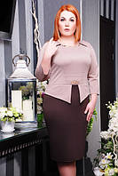 Стильное батальное платье Полина беж+шоколад Lenida 50-58 размеры