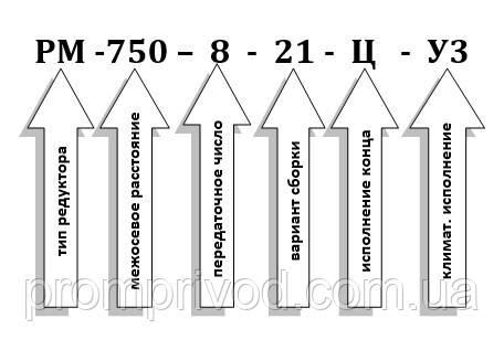 Условное обозначение редуктора РМ-750-8