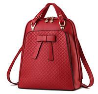 Рюкзак женский кожзам городской с бантиком Красный