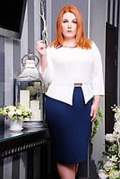 Стильное батальное платье Полина белый+темно-синий Lenida 50-58 размеры