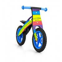 Велосипед беговой велокат Milly Mally беговел KING2015 RAINBOW надувные колеса сумка с молотком дерево Польша