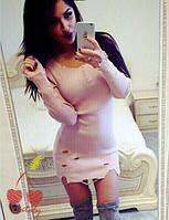 Платье женское Трикотаж вязанный тонкий Состав Хлопок Турция  Цвета: черный и пудра, супер качество нсем №1644