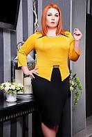 Стильное батальное платье Полина горчица+черный Lenida 50-58 размеры