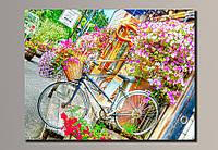 Фото картина на холсте Велосипед в цветах 70*54 см.