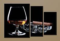 """Картина модульная на холсте """"Коньяк с сигарой""""HAT-003"""