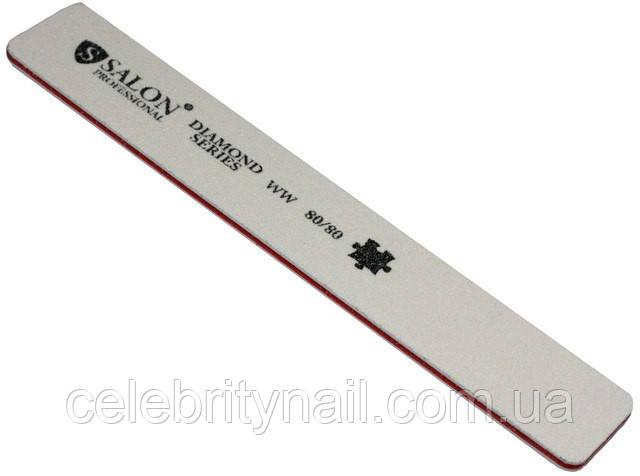 Пилка для ногтей Salon Professional 80/80, прямая, широкая, белая