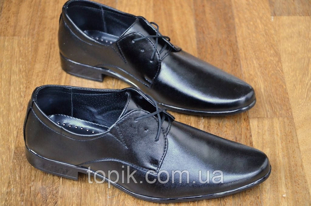 Туфли классические модельные с острым носком мужские на шнурках. (Код: 51)