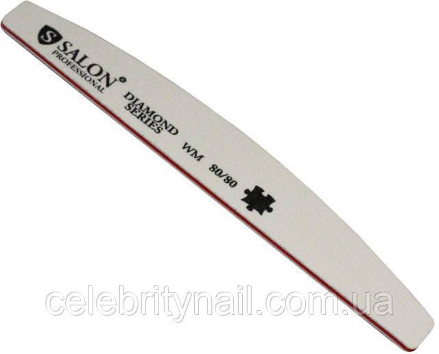 Пилка для ногтей Salon Professional 80/80, полукруг, белая
