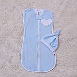 """Велюровая евро-пеленка кокон, для новорожденных """"Puso"""", голубая, фото 2"""