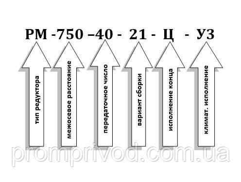 Условное обозначение редуктора РМ-750-40