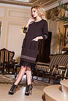 Модное  платье со стразами и гипюровым кружевом, цвет шоколад . Арт-2182/57